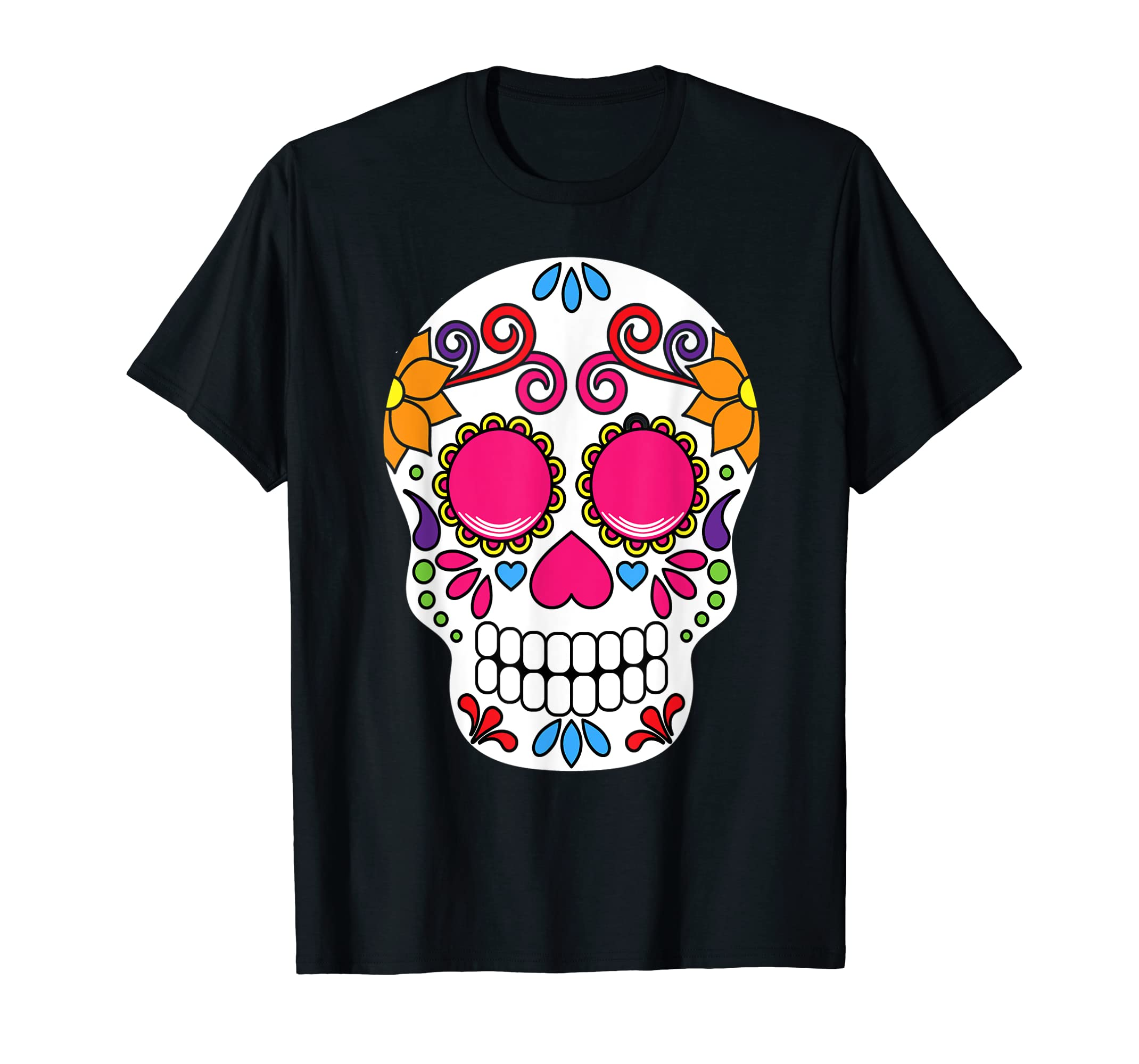 Colorful Day Of The Dead Sugar Skull Halloween T-shirt-Men's T-Shirt-Black