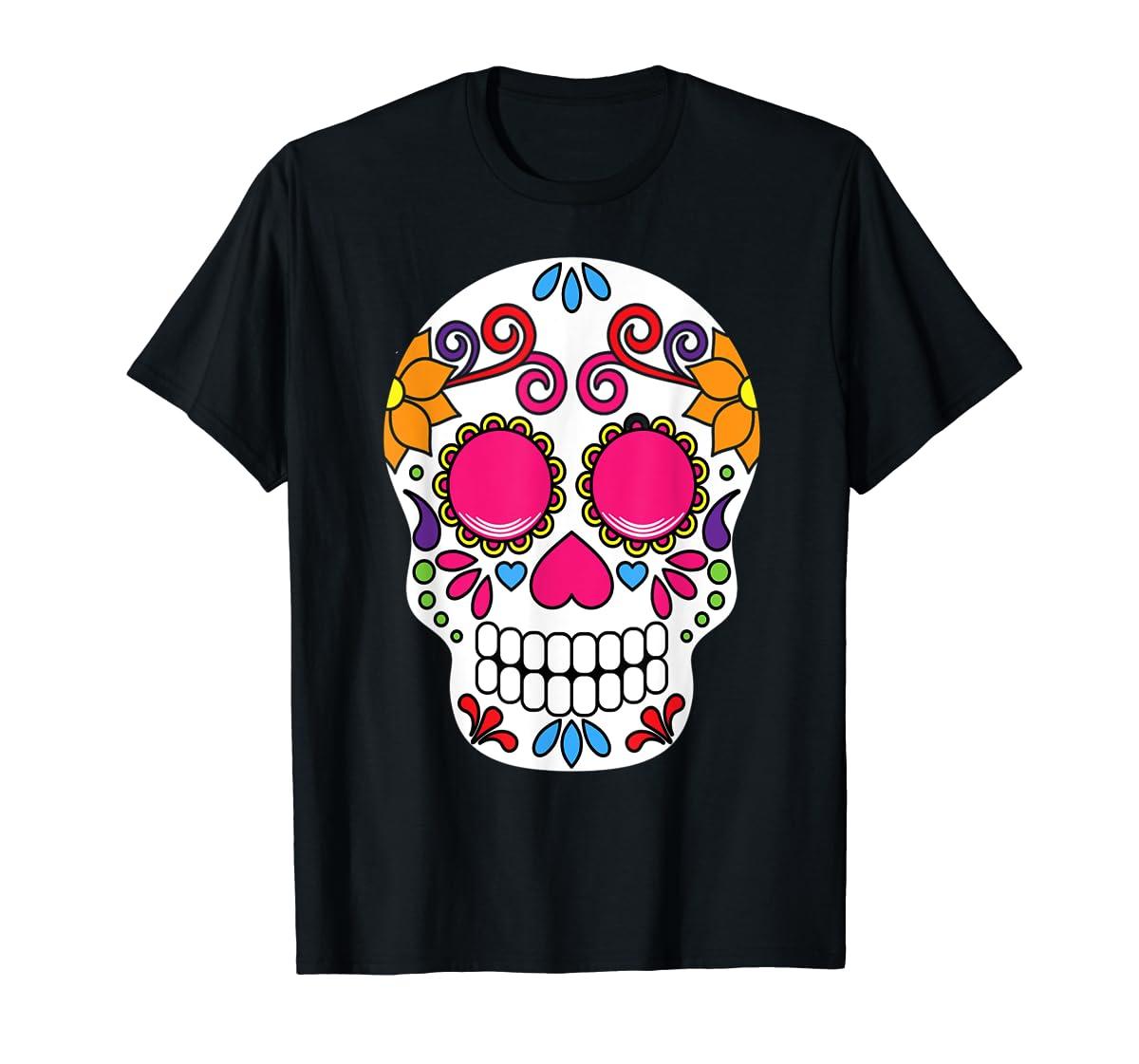 Colorful Day Of The Dead Sugar Skull Halloween T-shirt-Men's T-Shirt-Black