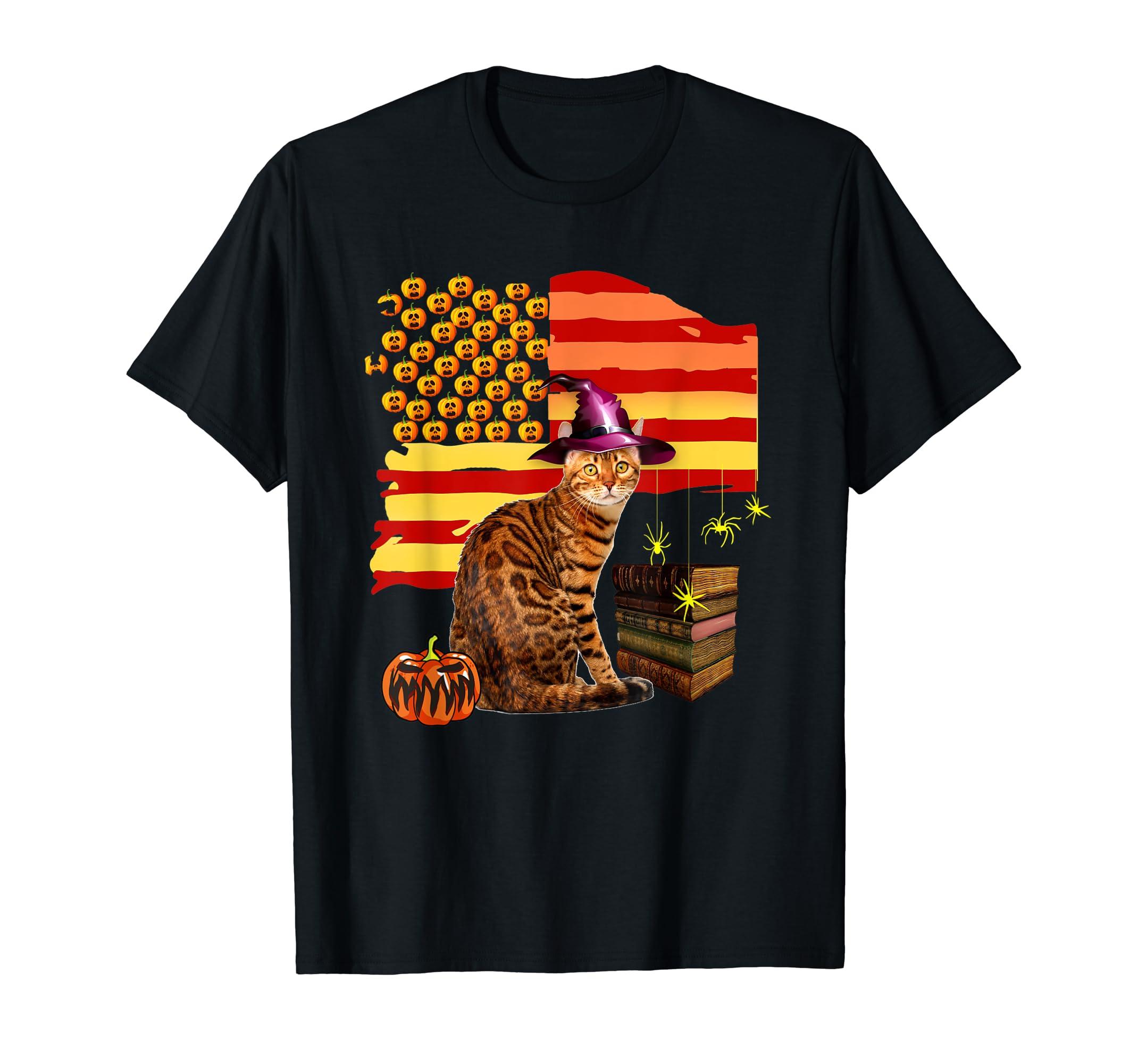 Funny Ocicat Cat Halloween Costume Gift Flag America Pumpkin T-Shirt-Men's T-Shirt-Black