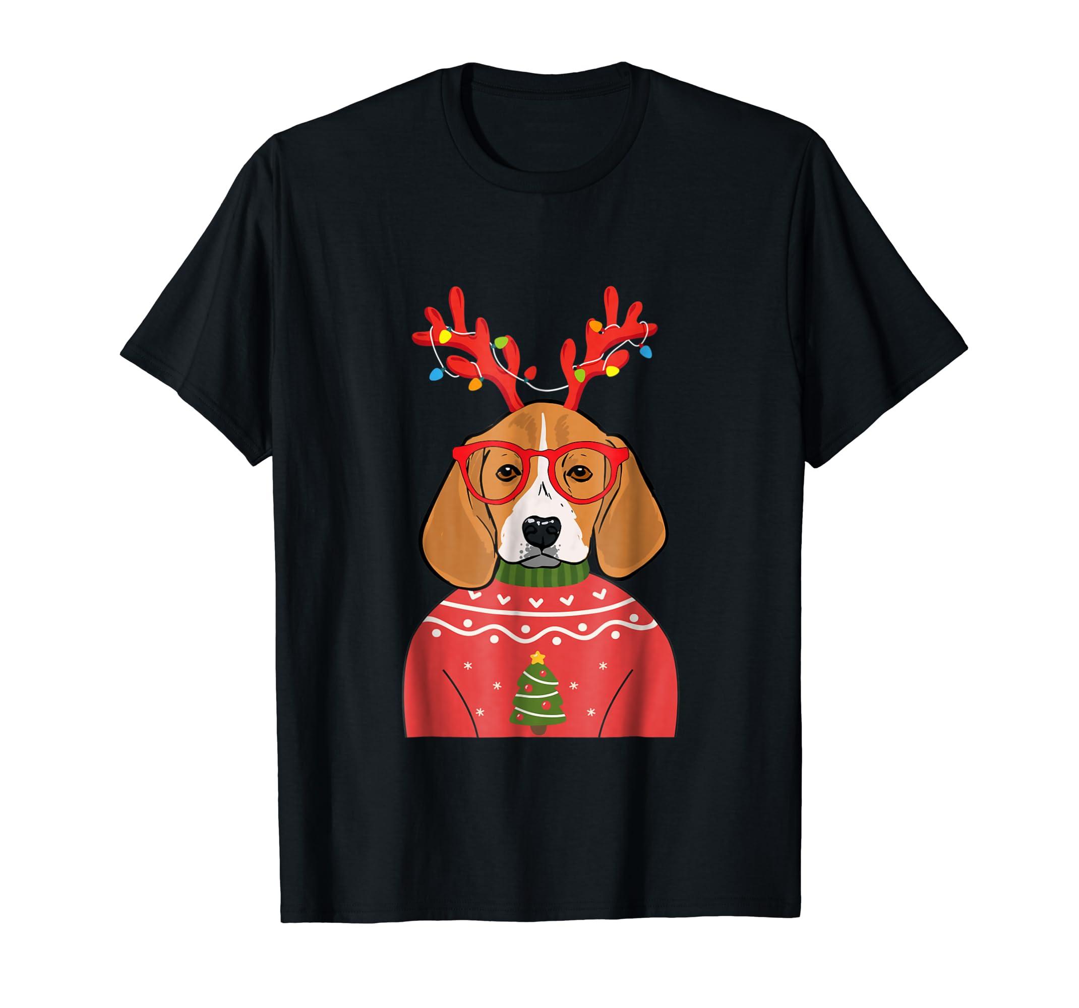 Reindeer Lights Beagle Cute Dog Christmas Holidays Shirt-Men's T-Shirt-Black