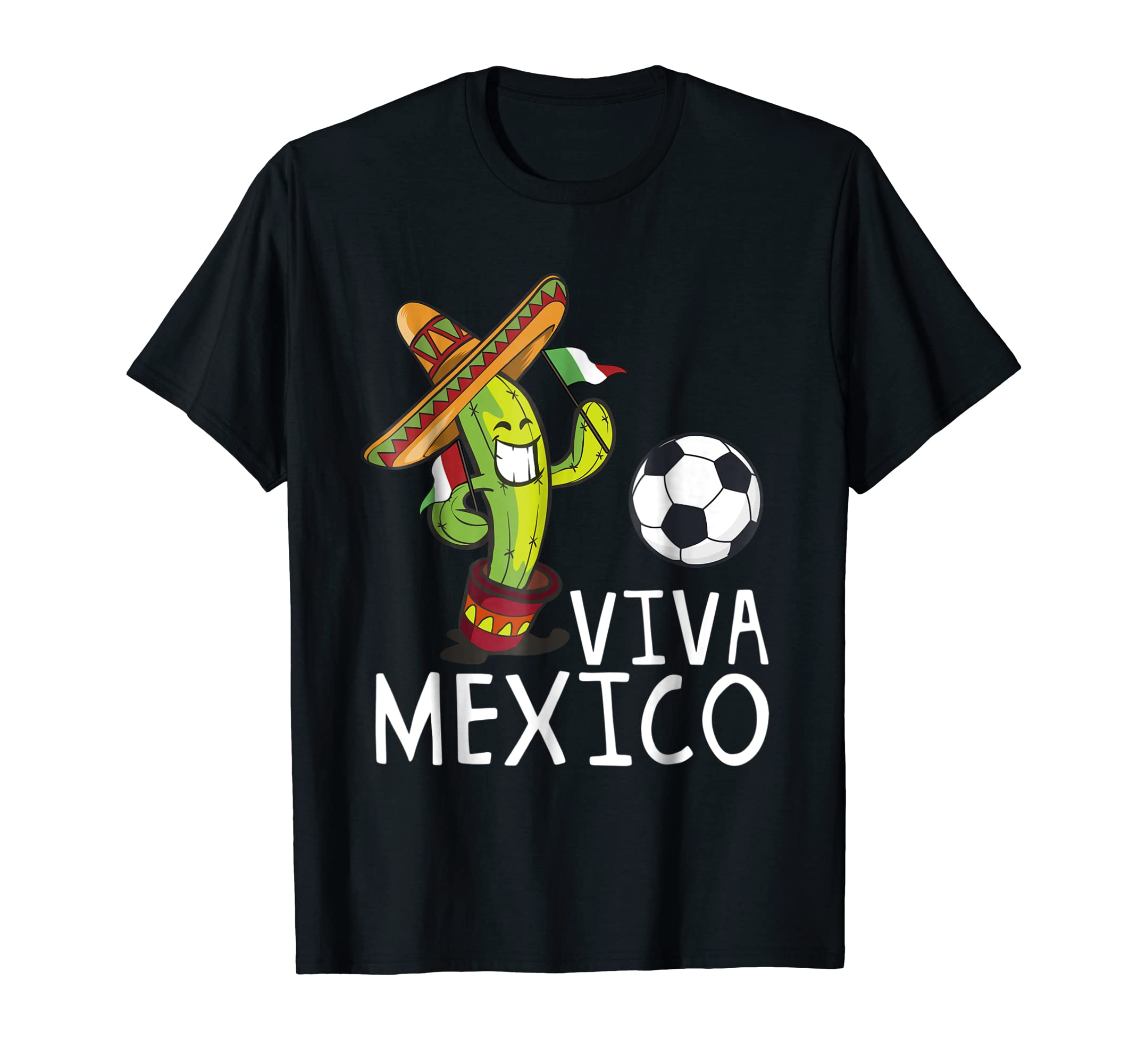 Amazon.com: Viva Mexico con cactus y balon-Mundial de Futbol camiseta: Clothing