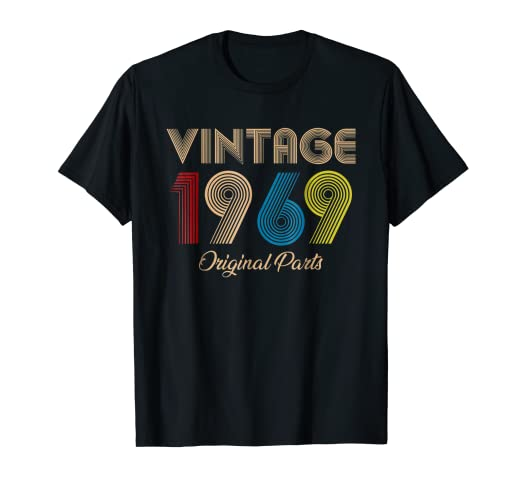 c7777a8fb Image Unavailable. Image not available for. Color: Vintage 1969 Original  Parts T-Shirt 50th Birthday Gifts Tee