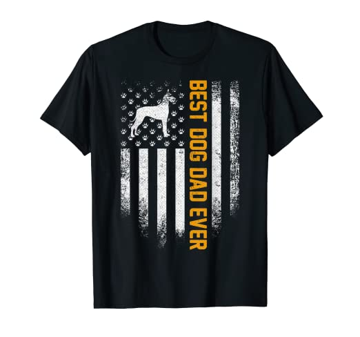888d377c Image Unavailable. Image not available for. Color: Vintage USA Best Great  Dane Dog Dad Ever American Flag Funny T-Shirt
