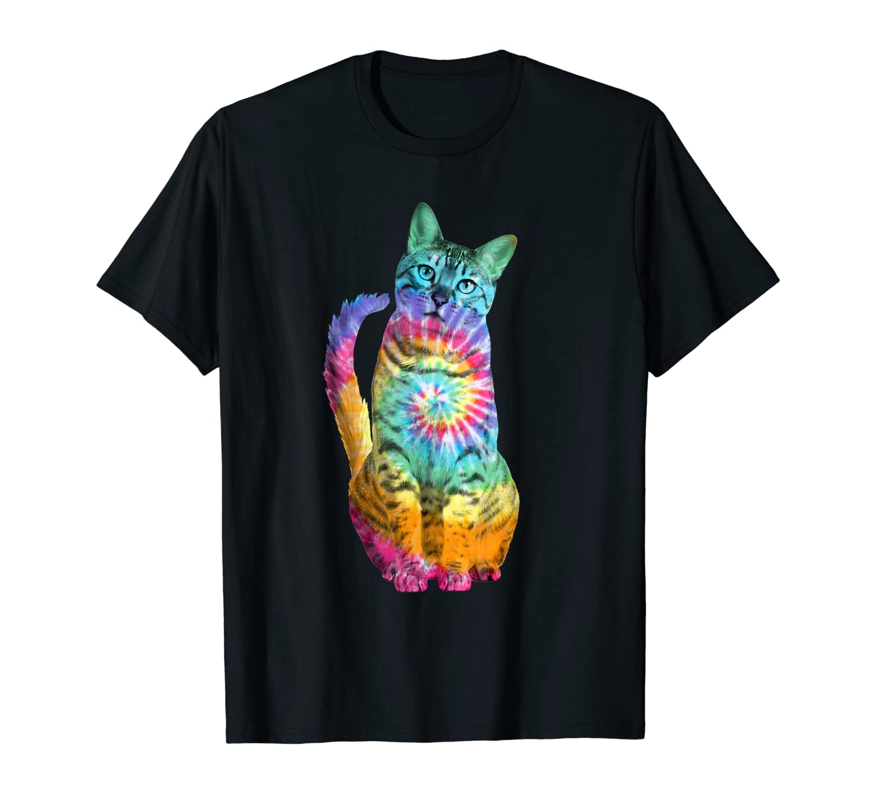 e89f3c03 Amazon.com: Tie Dye Cat T-Shirt: Clothing