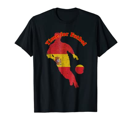 Time for Futbol Spain Flag soccer guy running Tee Shirt