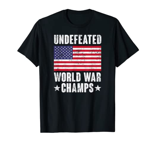 d1209d4c Image Unavailable. Image not available for. Color: Undefeated World War  Champs Shirt - American Flag Merica Tee