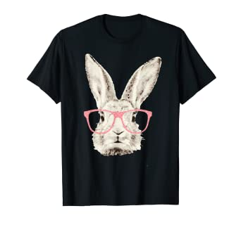 45cdb936d Image Unavailable. Image not available for. Color: Cute Bunny Rabbit Pink  Glasses Funny Hipster Easter Tshirt