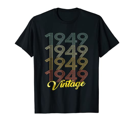 Image Unavailable Not Available For Color Retro Vintage 1949 T Shirt 70th Birthday Gifts 70 Years Old