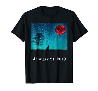 60f57311039ba Amazon.com: Total Lunar Eclipse Art Shirt Blood moon 2019 gift idea ...