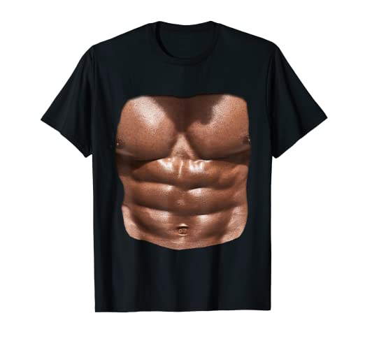 b0fb8f5c Image Unavailable. Image not available for. Color: Fake Muscle Under  Clothes Shirt Chest Six Pack Abs T-Shirts