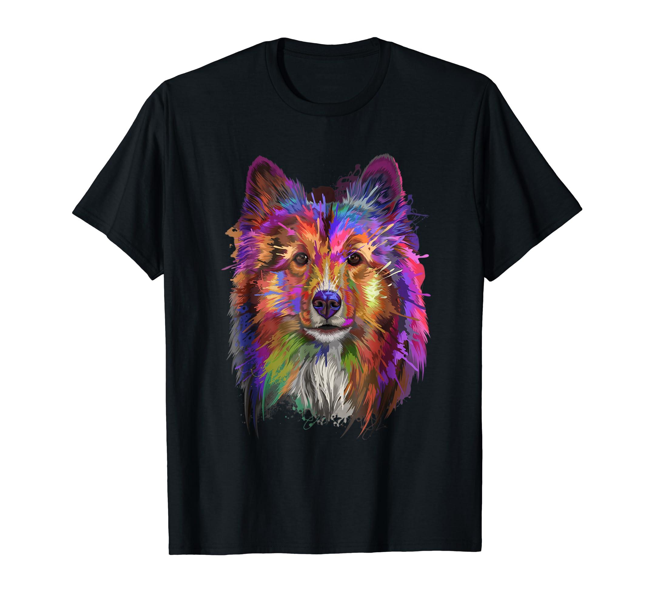 Splash Art Shetland Sheepdog T-Shirt | Cute Sheltie Gifts-Men's T-Shirt-Black