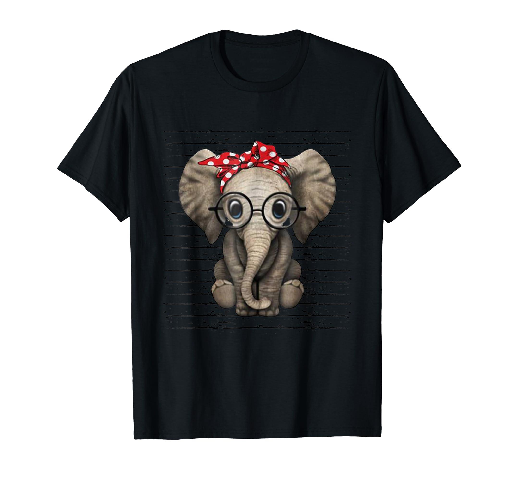 Elephants with bandana headband and glasses cute t-shirt-Men's T-Shirt-Black