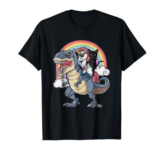Amazon Com Black Cat Riding Unicorn T Rex Dinosaur Tshirt Cat
