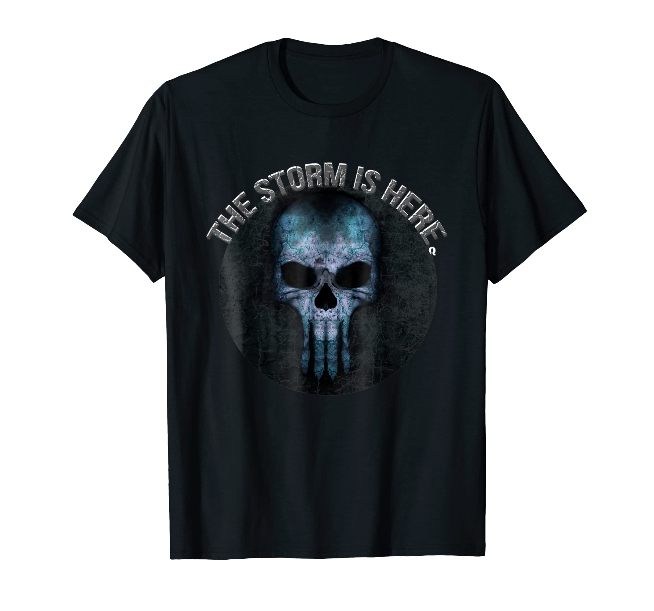Qanon T Shirt Skull Q anon The Storm Is Here-Colonhue
