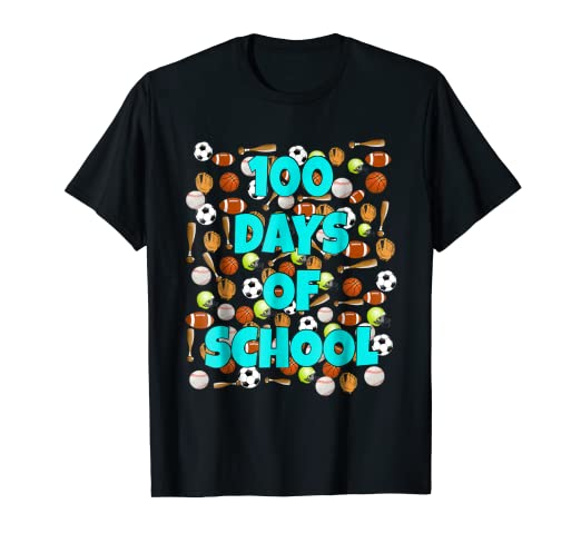 Amazon.com  100 Days of School T Shirt for kids or teachers - Sports ... 777f236b490