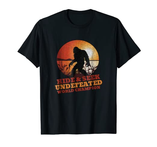 1dd6c63d Image Unavailable. Image not available for. Color: Hide & Seek Undefeated World  Champion Bigfoot Sunset Tshirt