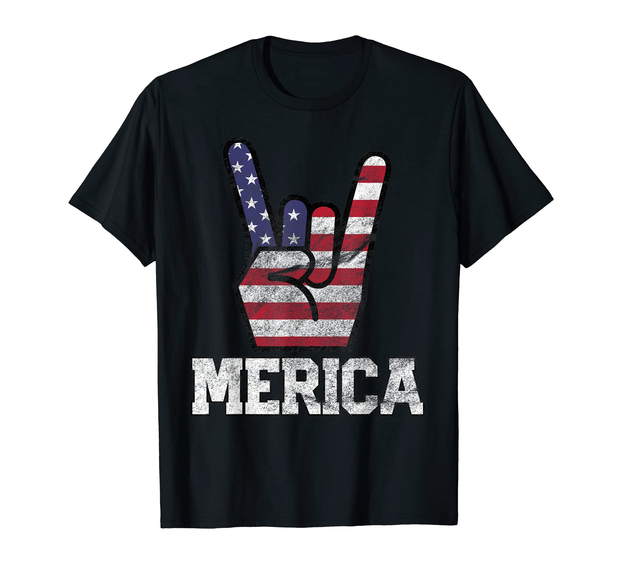 Merica Rock Sign 4th of July Vintage American Flag Retro USA T-Shirt-Men's T-Shirt-Black