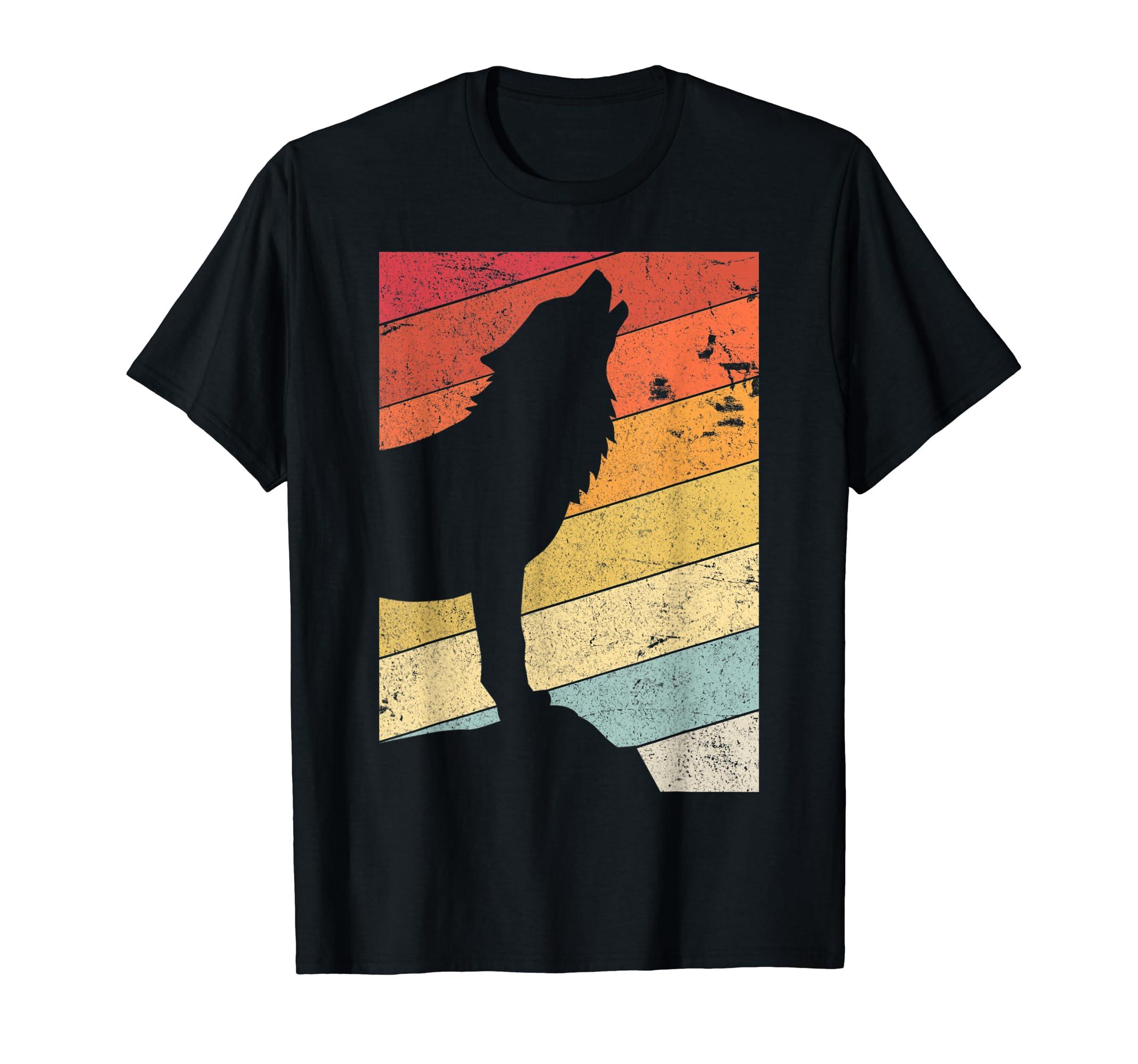 Wolf Shirt. Retro Style T-Shirt-Men's T-Shirt-Black