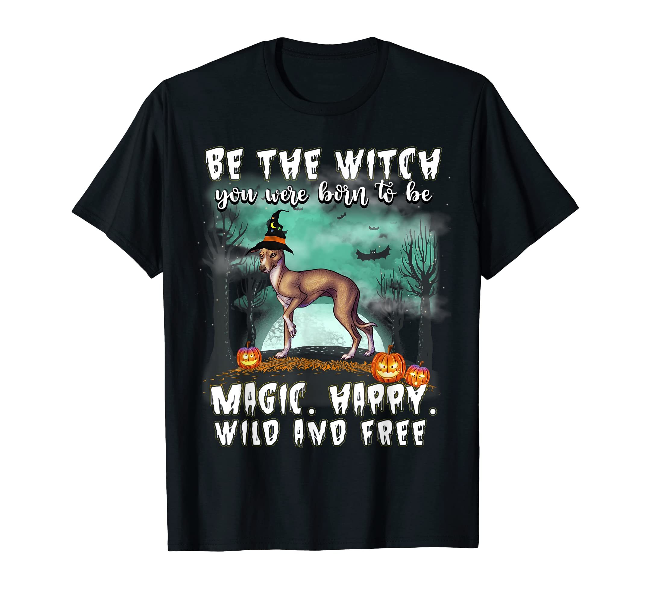Be The Witch Italian Greyhound Dog Halloween T-Shirt-Men's T-Shirt-Black