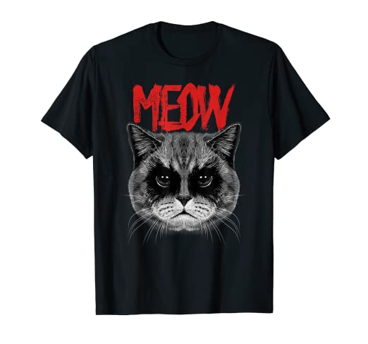 0d37a08cde Amazon.com: Black Metal Scottish Fold Cat T-Shirt Metalhead Meow Tee ...