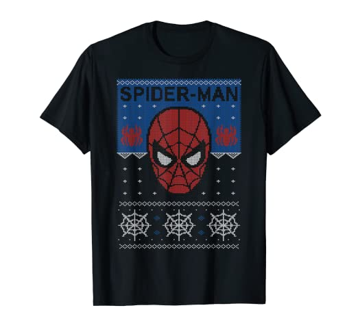 09277014 Image Unavailable. Image not available for. Color: Marvel Spider-Man Mask  Ugly Christmas Sweater T-Shirt