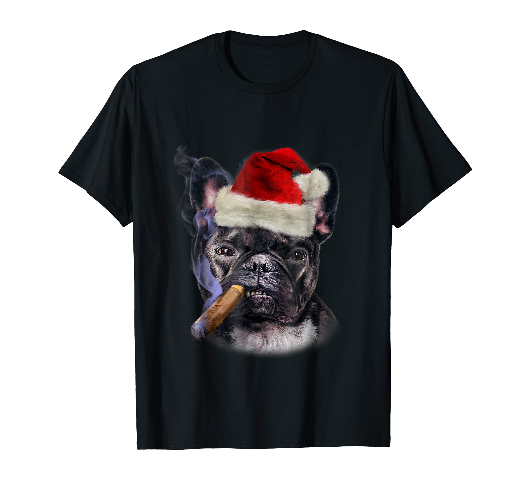 T-Shirt, French Bull Dog in Santa Hat, Cigar, Christmas-Men's T-Shirt-Black