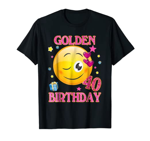40 Years Old Golden Birthday Emoji Shirt 40th