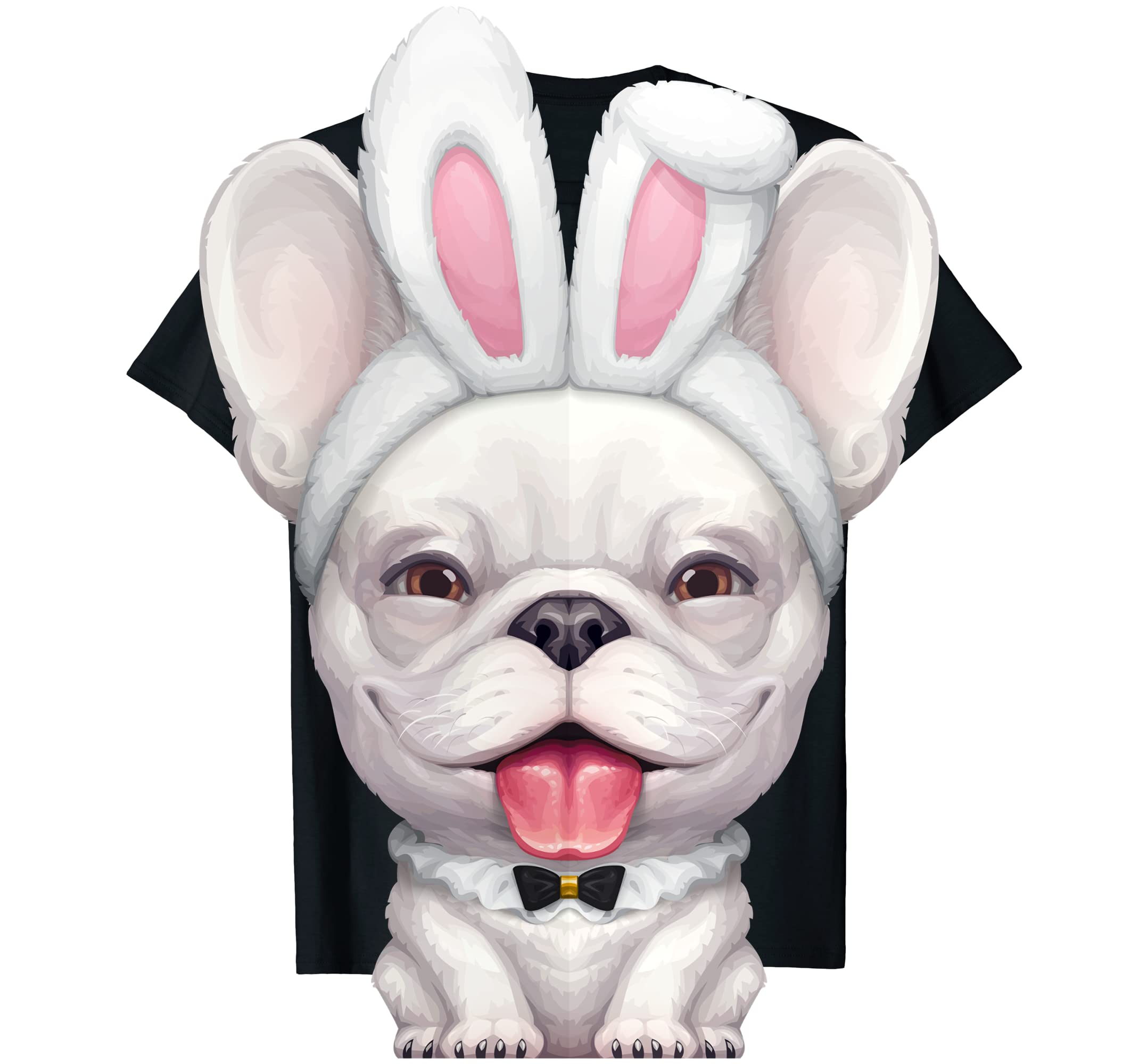 White French Bulldog in the Easter Bunny Costume T-Shirt-Men's T-Shirt-Black