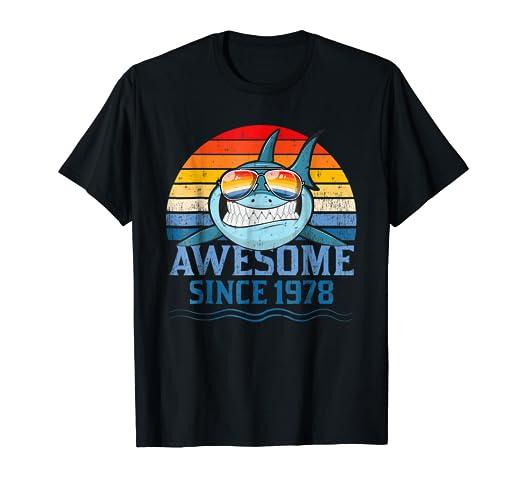 40th Birthday Gift Tee Shark 40 Year Old Shirt For Men Women