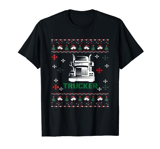 dd82a6fa Amazon.com: Trucker Christmas T shirt | Funny Trucker Dad Shirts ...