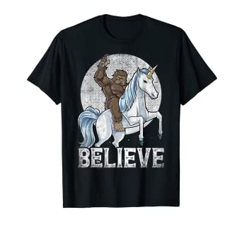 2dacc9ab Image Unavailable. Image not available for. Color: Bigfoot Riding Unicorn T  Shirt Funny Sasquatch Vintage Tees
