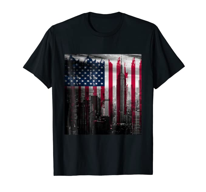 Distressed Red White & Blue USA Flag NYC skyline tee shirt