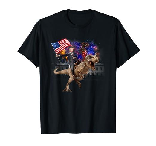bdbc5c01 Amazon.com: Trump Riding a Dinosaur T-rex T-shirt Suppor Trump 2020 ...