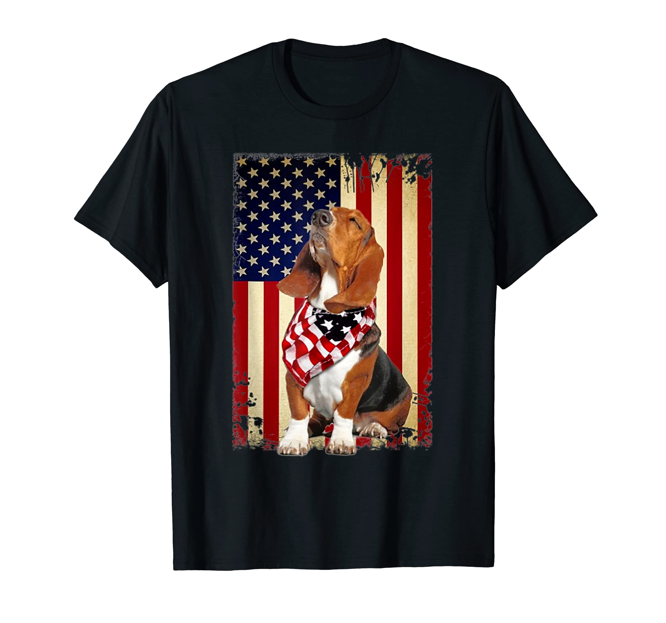 Basset hound smile flag American t-shirt Independence 4th of-Men's T-Shirt-Black