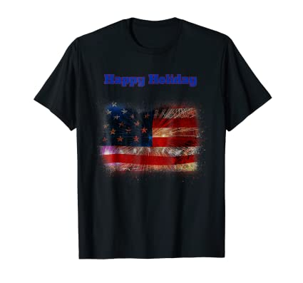 Happy Holiday American USA Flag Fireworks graphic Tee Shirt