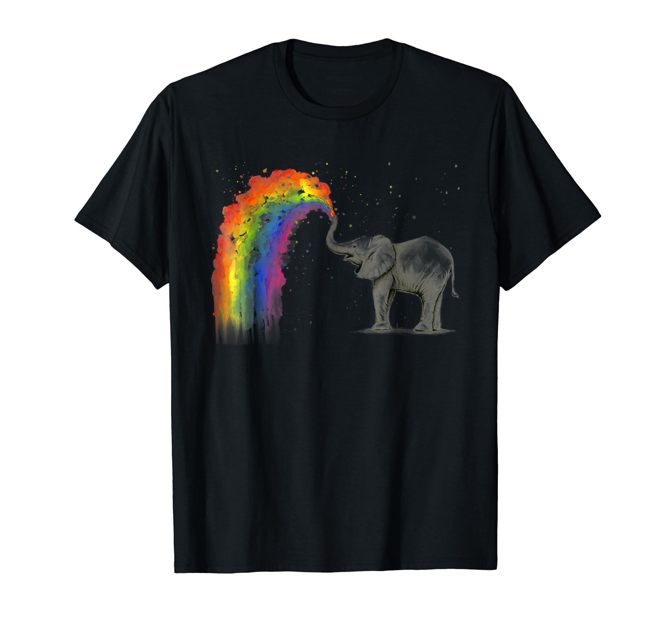 Elephant Spraying Rainbow T-shirt Baby Elephant Watercolor-Men's T-Shirt-Black