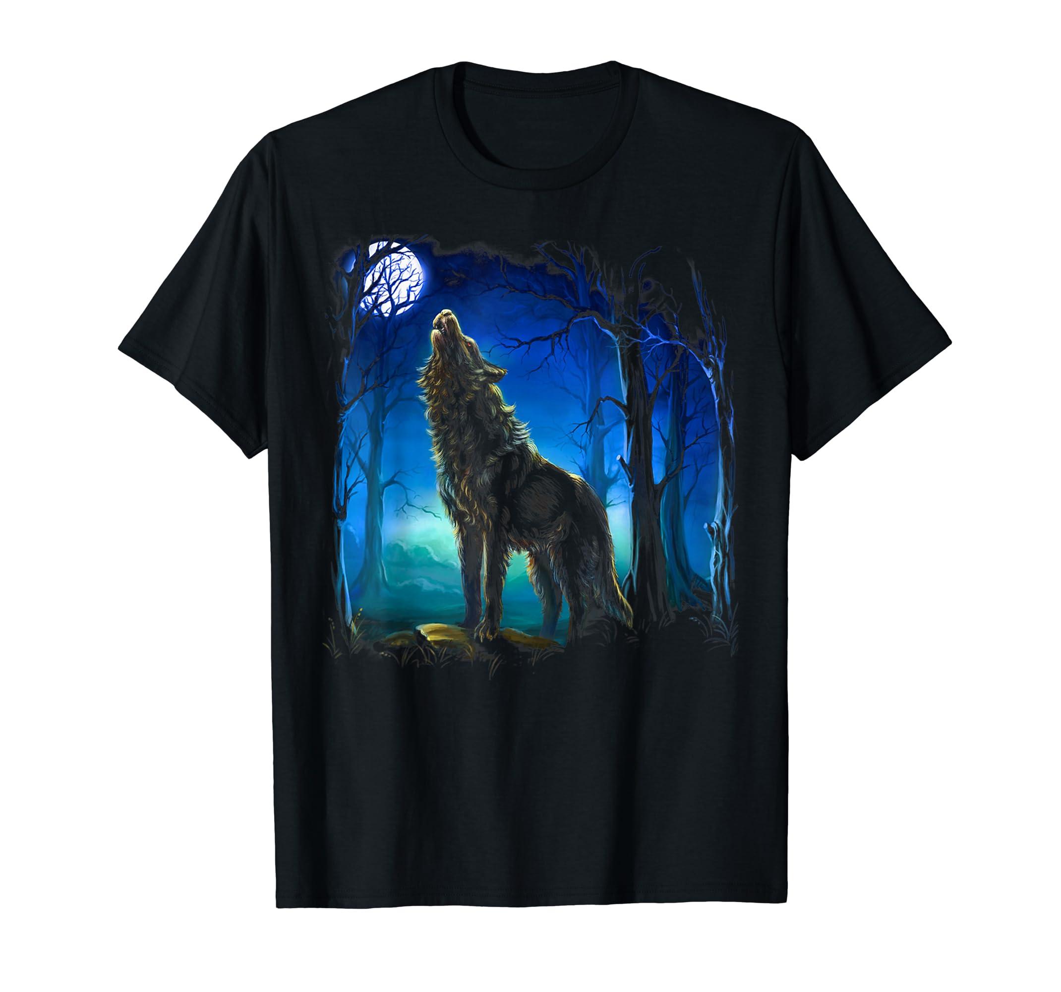 Wolf Shirt - Wolf galaxy Moon T-shirt-Men's T-Shirt-Black