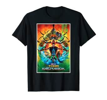 28906847f52 Amazon.com: Marvel Thor Ragnarok Armed and Ready Film Poster T-Shirt:  Clothing