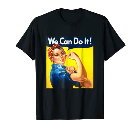 144490d3d Image Unavailable. Image not available for. Color  Ladies We Can Do It Rosie  The Riveter Girl Power Unisex Tee