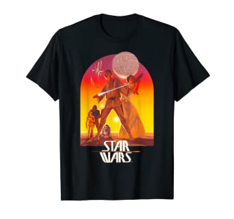 127d76cb Amazon.com: Star Wars Ralph McQuarrie Luke and Leia Alderaan T-Shirt ...