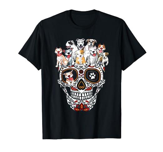 0c8e6a128 Amazon.com: Pitbull Mom Sugar Skull Shirt- Funny Gothic Dog Mom Dad ...