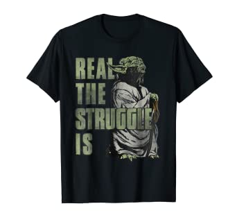 6a704195 Amazon.com: Star Wars Yoda Real The Struggle Is Graphic T-Shirt ...