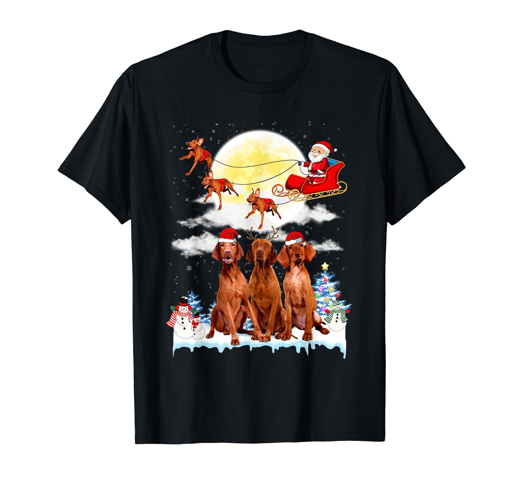 Vizsla Dog Santa Sleigh Christmas Gift T-Shirt-Men's T-Shirt-Black