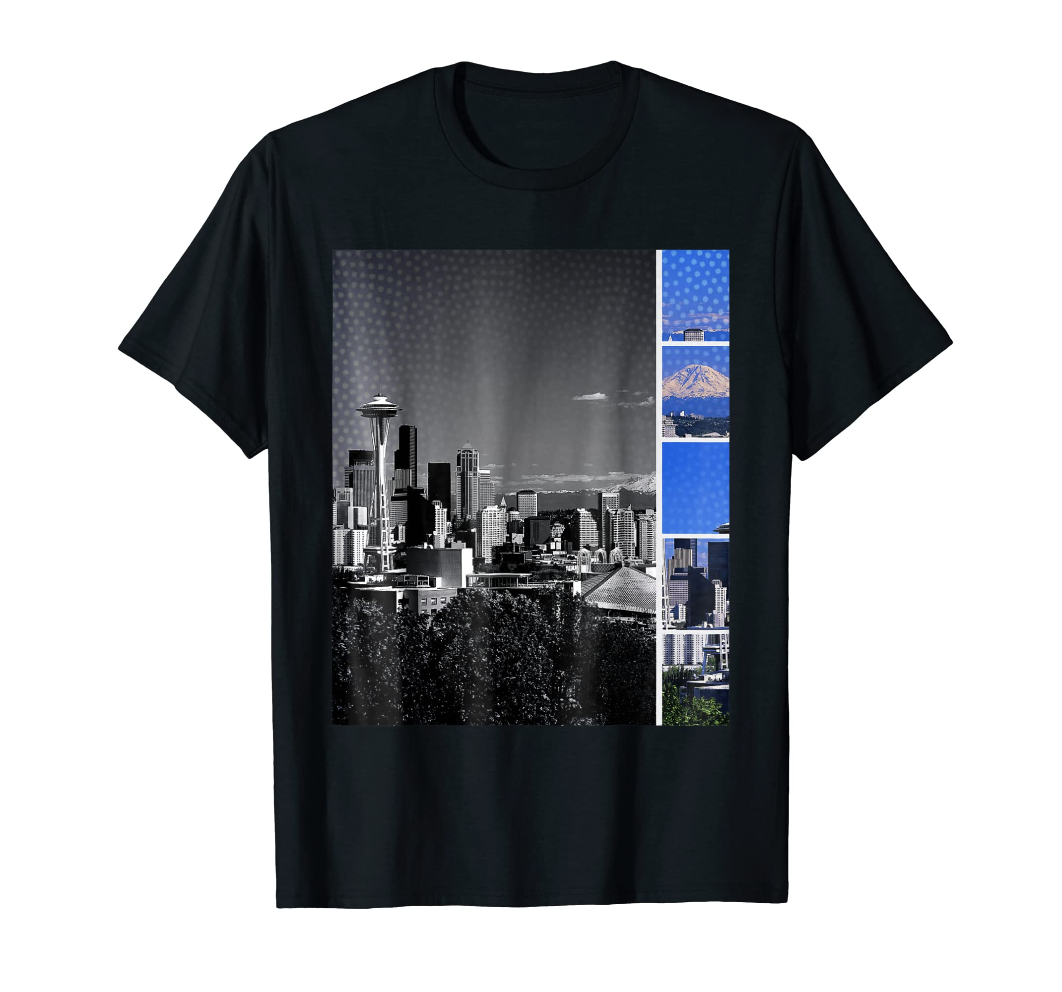 Downtown Seattle Skyline Shades of Grey and Blue T-Shirt  by stine1 on Amazon.com