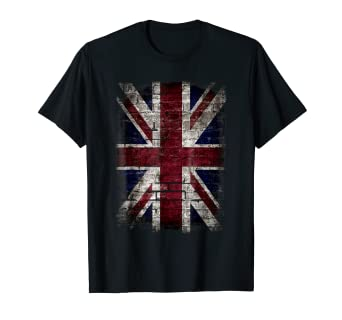 e7cf3829 Image Unavailable. Image not available for. Color: Grunge British Flag T  Shirt Vintage Distress ...