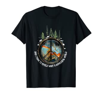 f1336105d51 Image Unavailable. Image not available for. Color  And I Think To Myself  What A Wonderful World Hippie Shirt