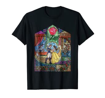 Amazon Com Disney Beauty The Beast Stained Glass Rose Graphic T