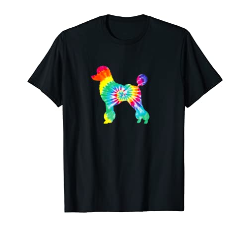 Poodle Tie Dye Silhouette Print   Dog Mom Mama Lover T Shirt