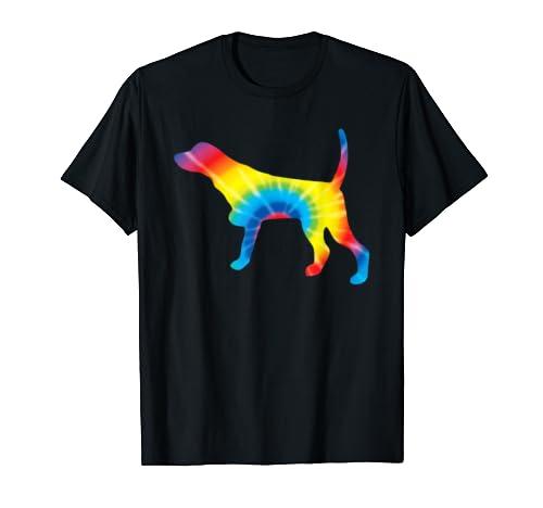 Tie Dye Pointer Rainbow Print Dog Pet Hippie Peace Gift T Shirt
