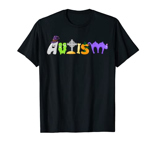 Funny Autism Witch Hat Cat Pumpkin Halloween Outfit Gifts T Shirt